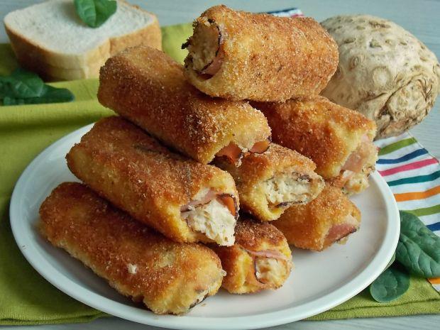 Przepis  tostowe krokiety z selerem i szynką przepis