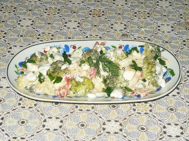 Przepis  sałatka kalafiorowo- brokułowa przepis