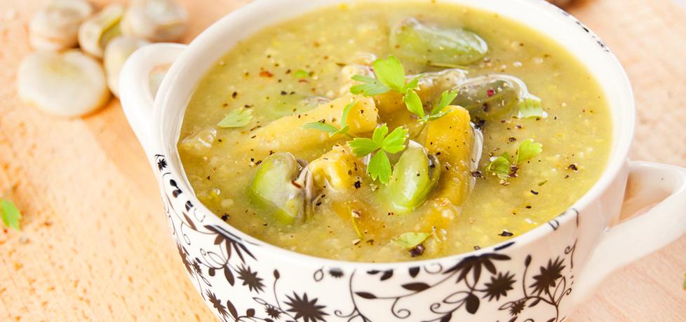 Zupa z młodego bobu i fasolki szparagowej z kaszą jaglaną (autor ...