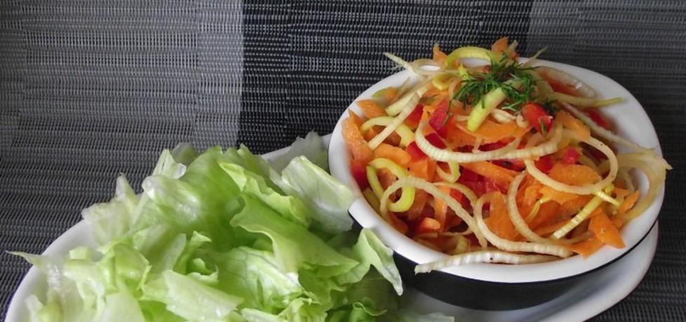 Surówka z pora marchewki i papryki (autor: konczi)