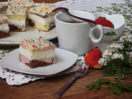Przepis  kolorowe ciasto z masą serową przepis