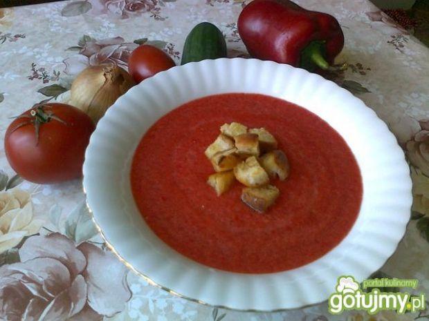 Przepis  gazpacho z grzankami przepis