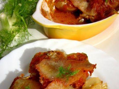 Przepis  koper włoski z mozzarellą w pomidorach przepis
