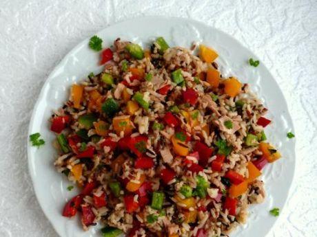 Przepis  sałatka z ryżem,tuńczykiem i papryka przepis