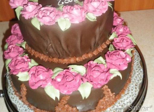 Tort czekoladowo  śmietankowo  wiśniowy