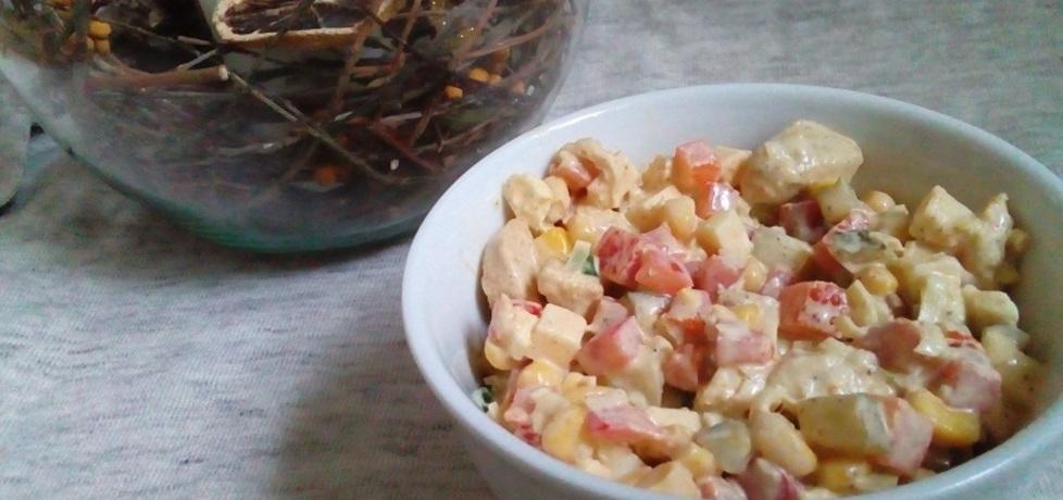Kolorowa sałatka z kurczakiem, porem i serem (autor: ilonaes ...