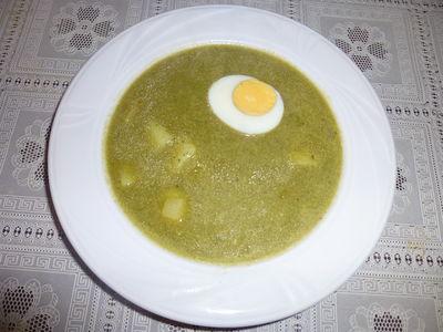 Szybka zupa szczawiowa z jajkiem, ziemniakami i skwarkami ...