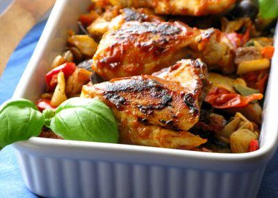 Kurczak z warzywami z grilla