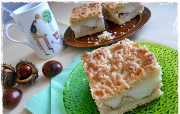 Przepis  ciasto kruche z jabłkami i budyniem przepis