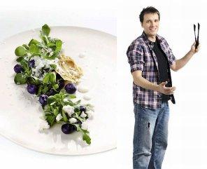 Sałatka z kozim serem, borówkami i granitą jogurtową
