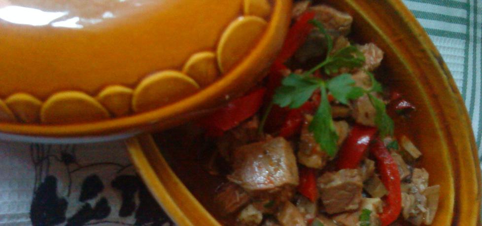 Gulasz z szynki wieprzowej w sosie słodko
