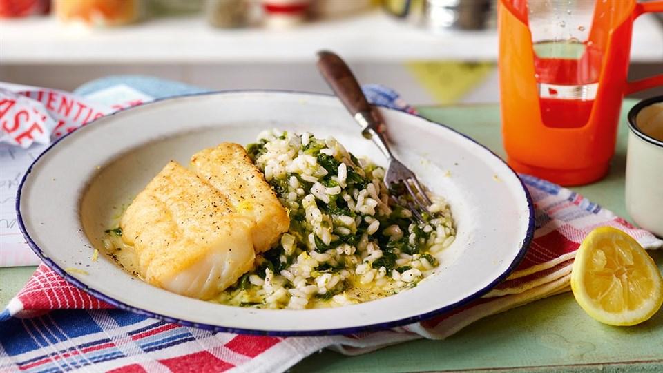 Przepis na risotto ze szpinakiem i rybą