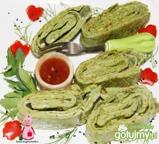 Przepis  zielony omlet rybny : przepis