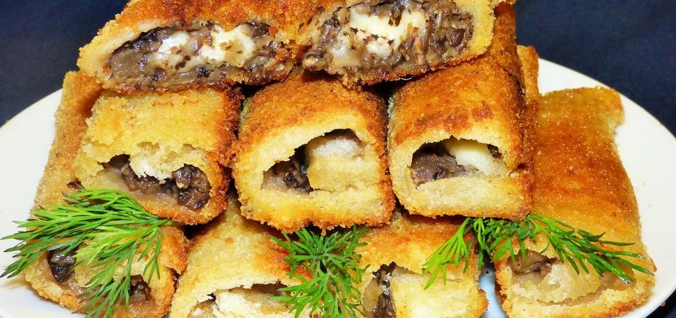 Ekspresowe krokiety z chleba tostowego z pieczarkami i mozzarellą ...