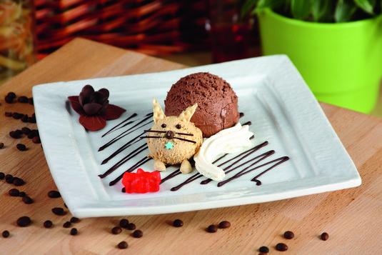 Lody czekoladowe z bitą śmietaną kot