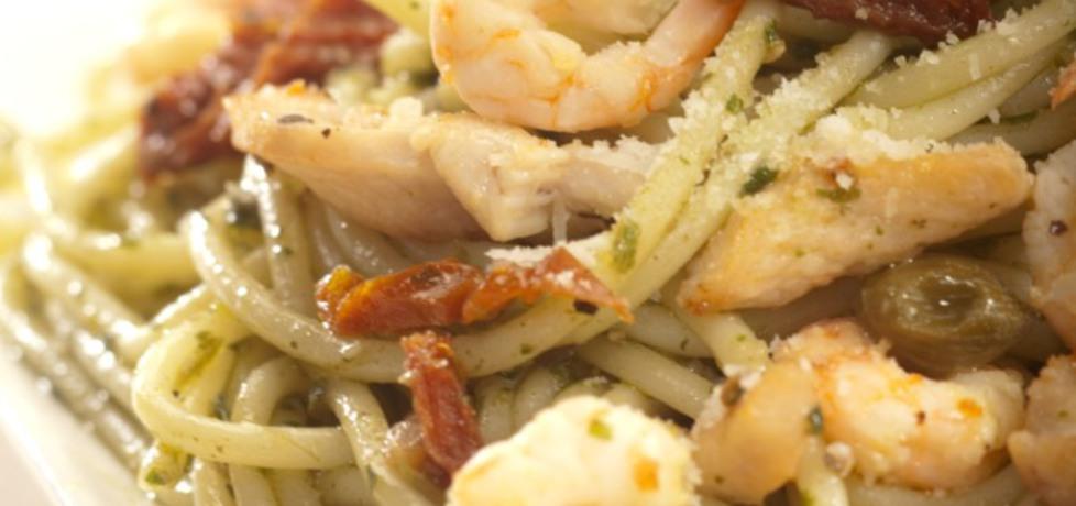 Spaghetti z kurczakiem, krewetkami i bazyliowym pesto roberta sowy