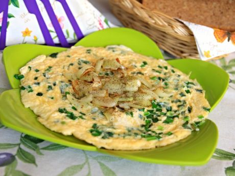 Przepis  wiosenny omlet z cebulą dymką przepis
