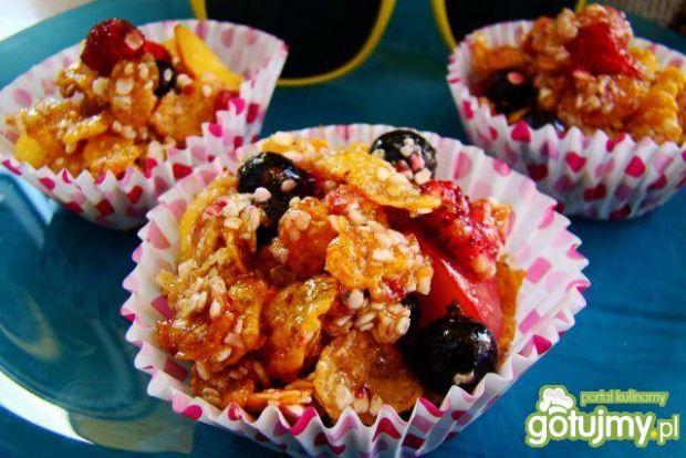 Przepis  owocowo miodowe ciasteczka z płatków przepis