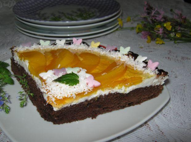 Przepis  czekoladowe ciasto z brzoskwiniami przepis