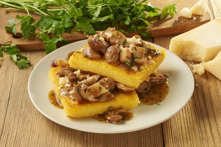 Borowiki z polentą