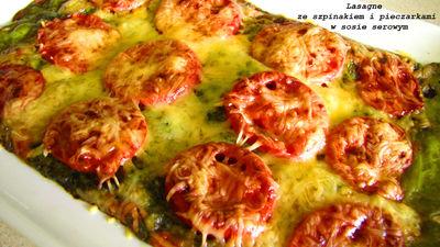 Lasagne ze szpinakiem i pieczarkami w sosie serowym ...