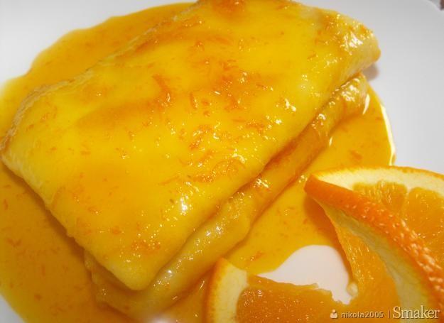 Naleśniki z serem w sosie pomarańczowym