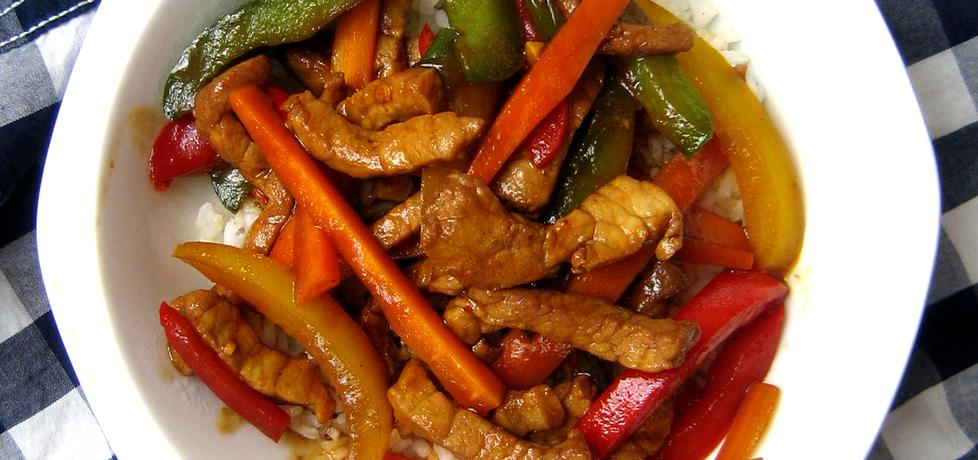 Wieprzowina po chińsku z papryką i marchewką (autor: brioszka ...