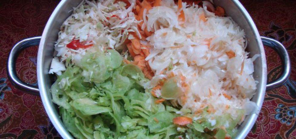 Sałatka warzywna z dodatkiem zielonych pomidorów ...
