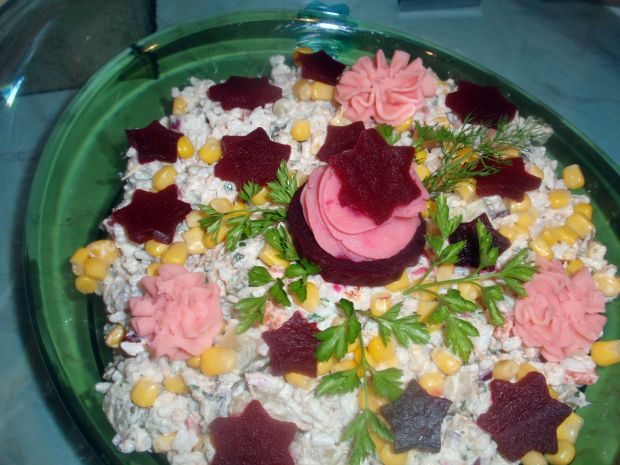 Przepis  sałatka ryżowa z gwiazdkami przepis