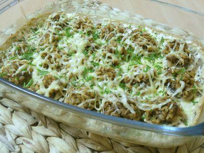 Zapiekane pieczarki nadziewane ryżem