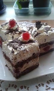 Ciasto chałwowo  wiśniowo