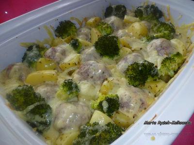 Zapiekane klopsy z brokułem i ziemniakami