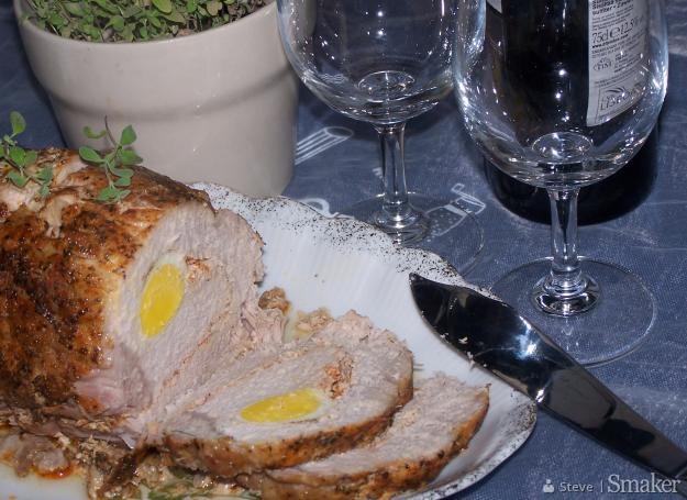 Schab pieczony z jajem