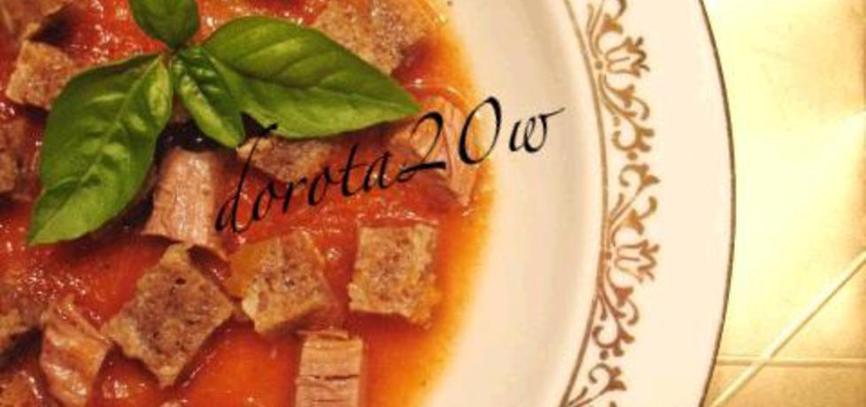Zupa marchwiowo – pomidorowa z wołowiną i grzankami (autor ...