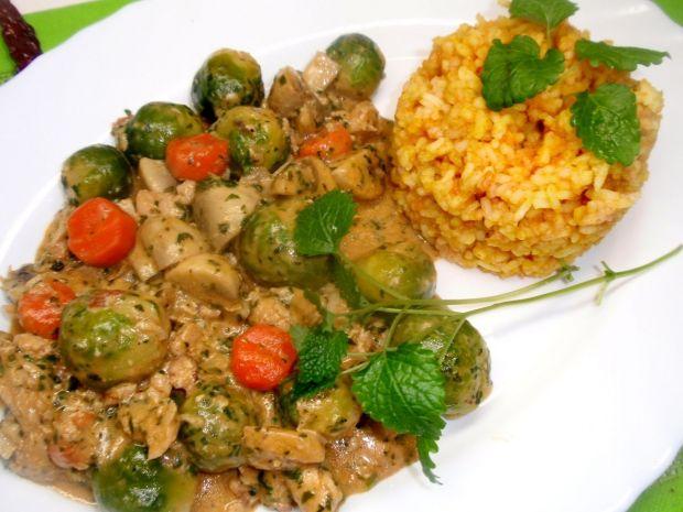 Przepis  filet z kurczaka z brukselką i marchewką przepis
