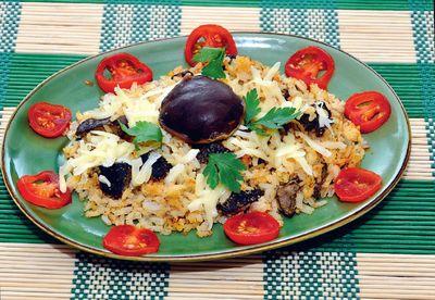 Zapiekany ryż z grzybami