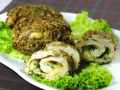 Roladki drobiowe z mozzarellą w orzechach (pieczone ...