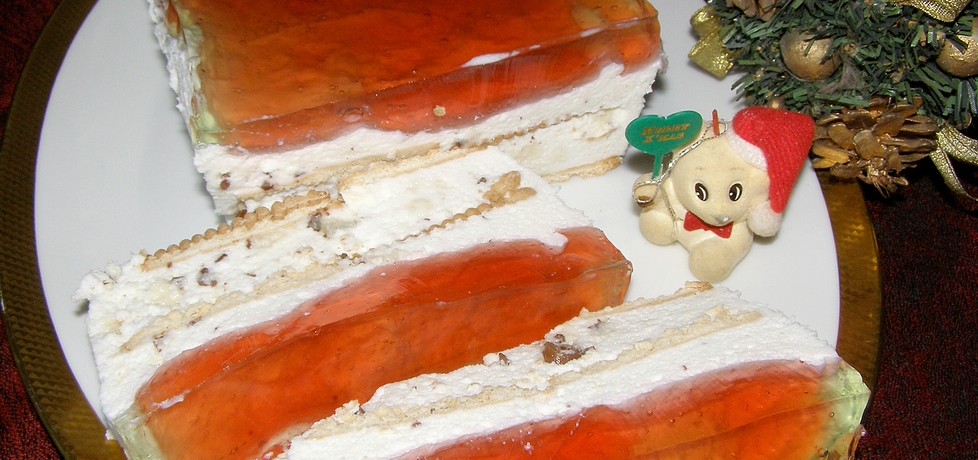 Sernik na zimno z marcepanem i galaretką... (autor: w-mojej