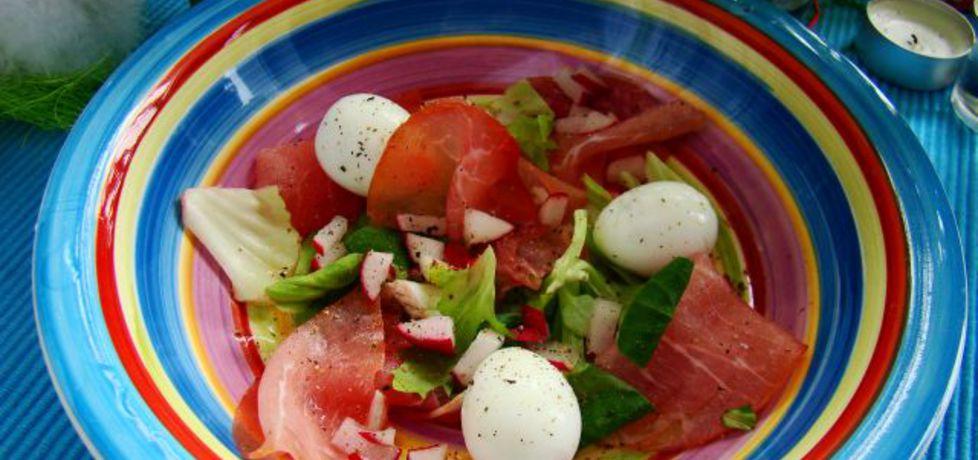Szybka smaczna przystawka z jajek przepiórczych ,rzodkiewki i sałaty