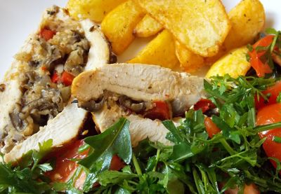 Filet z kurczaka faszerowany grzybami papryką i serem ...