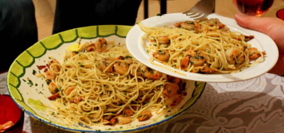 Czosnkowe spaghetti z krewetkami (autor: agnieszka189 ...