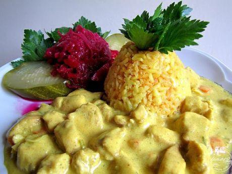 Przepis  żółty ryż i kurczak w curry przepis
