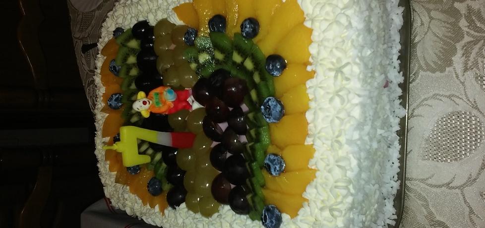 Tort ptasie mleczko z owocami (autor: rabiega