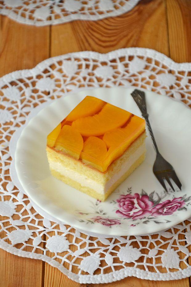Przepis  biszkoptowe ciasto brzoskwiniowe przepis