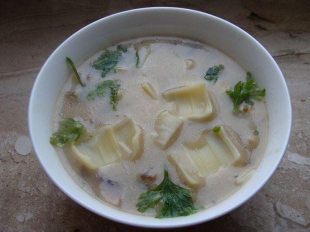 Przepis  zupa serowo pieczarkowa z łazankami przepis