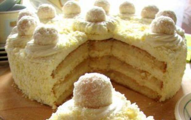 Przepis  mały tort kokosowy przepis