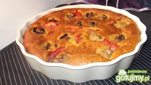 Przepis  clafoutis z pieczarkami i pomidorem przepis