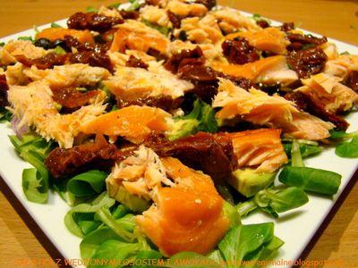 Sałatka z wędzonym łososiem i awokado