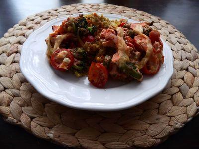 Zapiekanka warzywna z ryżem curry