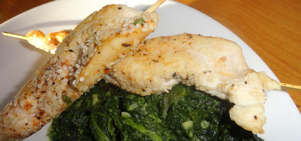 Szaszłyk z fileta kurczaka w sezamie z piekarnika (autor: rafal10 ...
